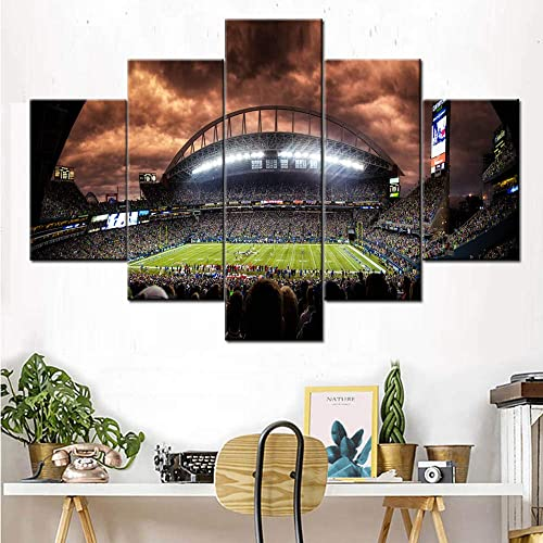 5 Piece Canvas Wall Art The Seattle Seahawks Pictures American Football Paintings Panel Artwork