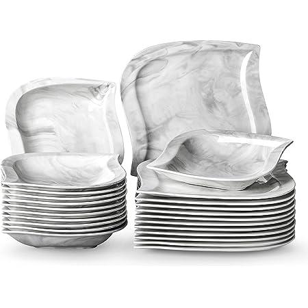 MALACASA Série Elvira, 24 Pcs Service de Table Porcelaine Marbre,Services Complets à Dinner, 6 Pcs * [Assiette Plat][Assiette Creuse], Vaisselles Gris pour Dinner