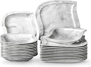 MALACASA Série Elvira, 24 Pcs Service de Table Porcelaine Marbre,Services Complets à Dinner, 12 Pcs * [Assiette Plat][Assi...