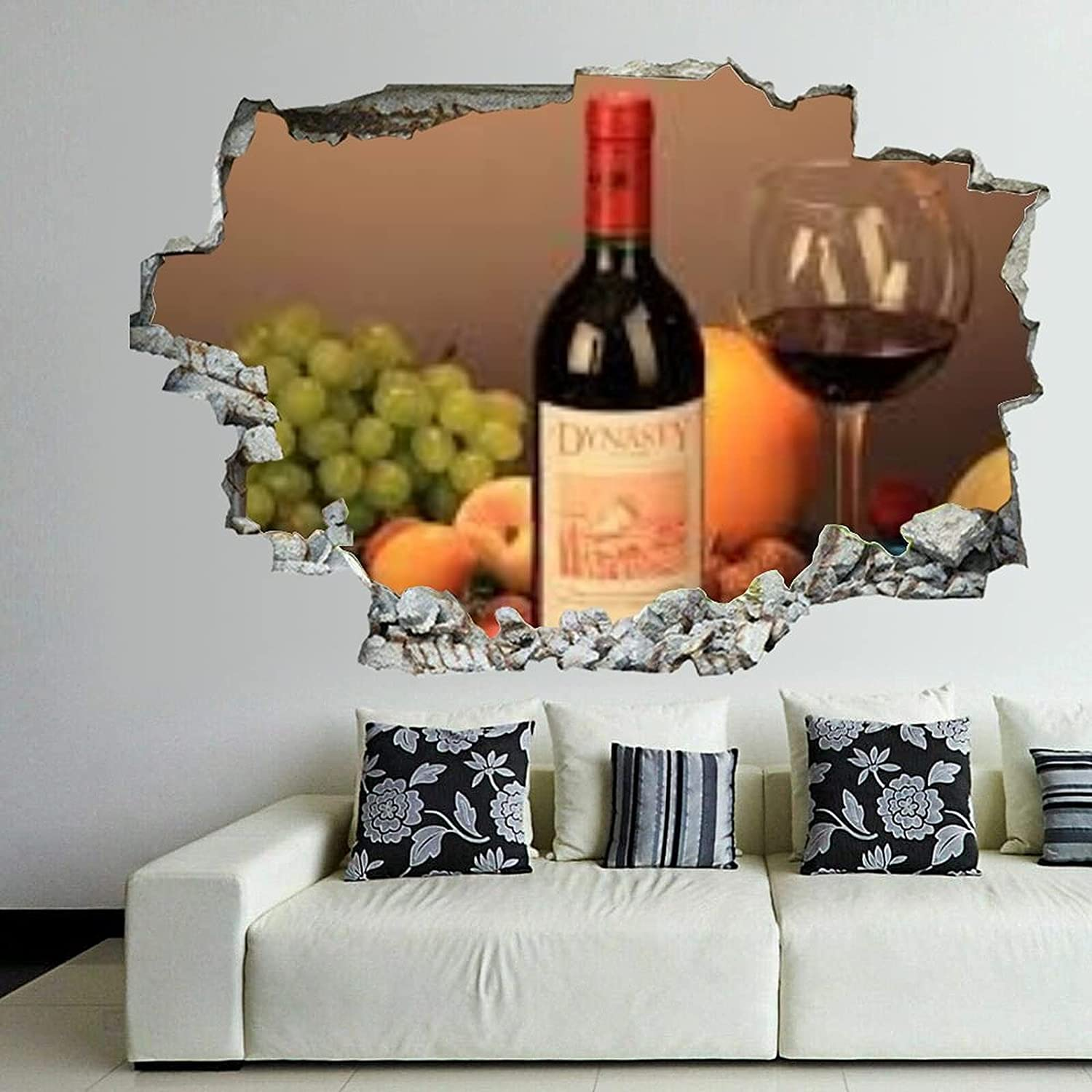 Wine Super Popularity popular specialty store Glass 3D Wall Art Smash Sticker Decals Adhesive Self