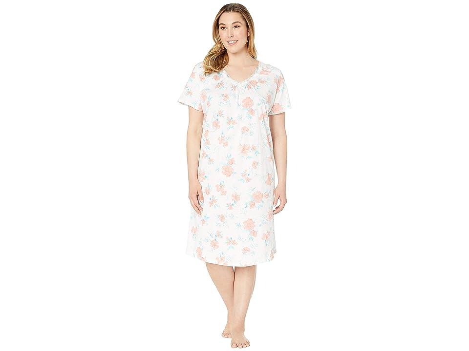 Carole Hochman Plus Size Long Gown CH81706X (Coral Watercolor Floral) Women
