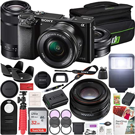 $798 Get Sony Alpha a6000 Mirrorless Digital Camera 16-50mm & 55-210mm Lens (Black) ILCE-6000Y/B and Vivitar 50mm F2.0 Prime 3 Lens Kit + Deco Gear Case Flash Remote & Filter Kit Pro Bundle