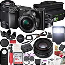 $798 Get Sony Alpha a6000 Mirrorless Camera with 16-50mm and 55-210mm Power Zoom Lenses Bundle with 50MM F2.0 Sony SLR Lens, 32GB Memory Card, Camera Bag and Accessories (7 Items)