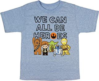 Seven Times Six Star Wars Boys' We Can All Be Heroes Cartoon Characters T-Shirt