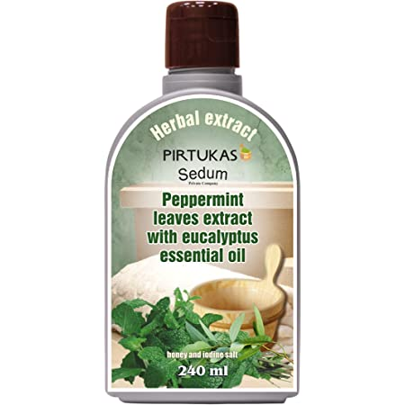 Extrait de fines huiles essentielles aux herbes naturelles Sedum pour sauna, Infusion de sauna avec Extrait de feuilles de menthe poivrée à l'huile essentielle d'eucalyptus, miel et sel d'iode - 240ml
