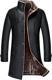 K3K Men's Classic Thick Warm Faux Fur Lambskin Leather Jacket Parka Outdoor Windproof Long Trench Coat Lamb Wool Lining