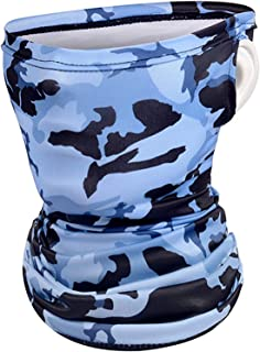 Neck Gaiters UV Protection Face Mask Scarf, Ice Silk Cooling Dust Face Cover Outdoor Bandana Headwears (Ear Loops Camo)