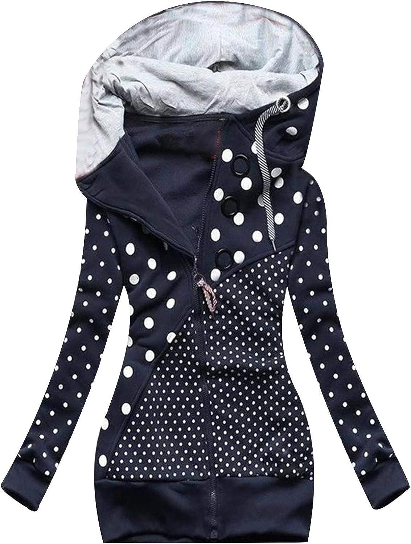 Fall Coats for Women Overcoat Warm Hoodie Windbreaker Ring Decoration Zipper Patchwork Slim Coat Jacket Long Outerwear