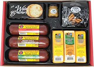 WISCONSIN'S BEST and WISCONSIN CHEESE COMPANY, Party Gift Basket - Smoked Summer Sausages, 100% Wisconsin Cheeses, Crackers, Pretzels & Mustard, Birthday Gifts | Amazon Prime | Father's Day Gift