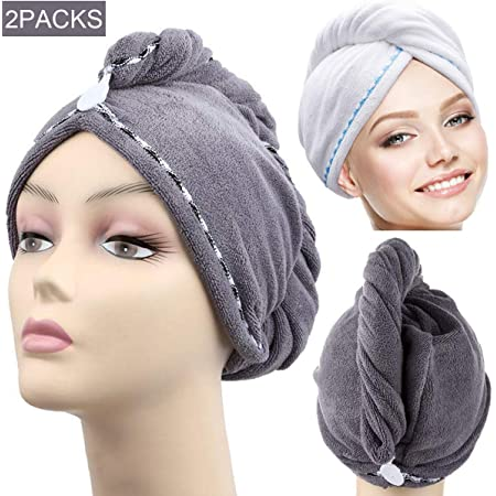 Newooh Soft Hair Towel,Wrap Drying Bath Shower Hair Turban with Buttons Super Absorbent Quick Dry Hair Towel for Curly Long Thick Hair