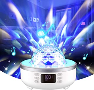 Projecteur étoile Lampe de Haut-parleur Bluetooth Veilleuse Table de Chevet avec Radio-réveil FM Radio 360° Rotation 6 Fil...