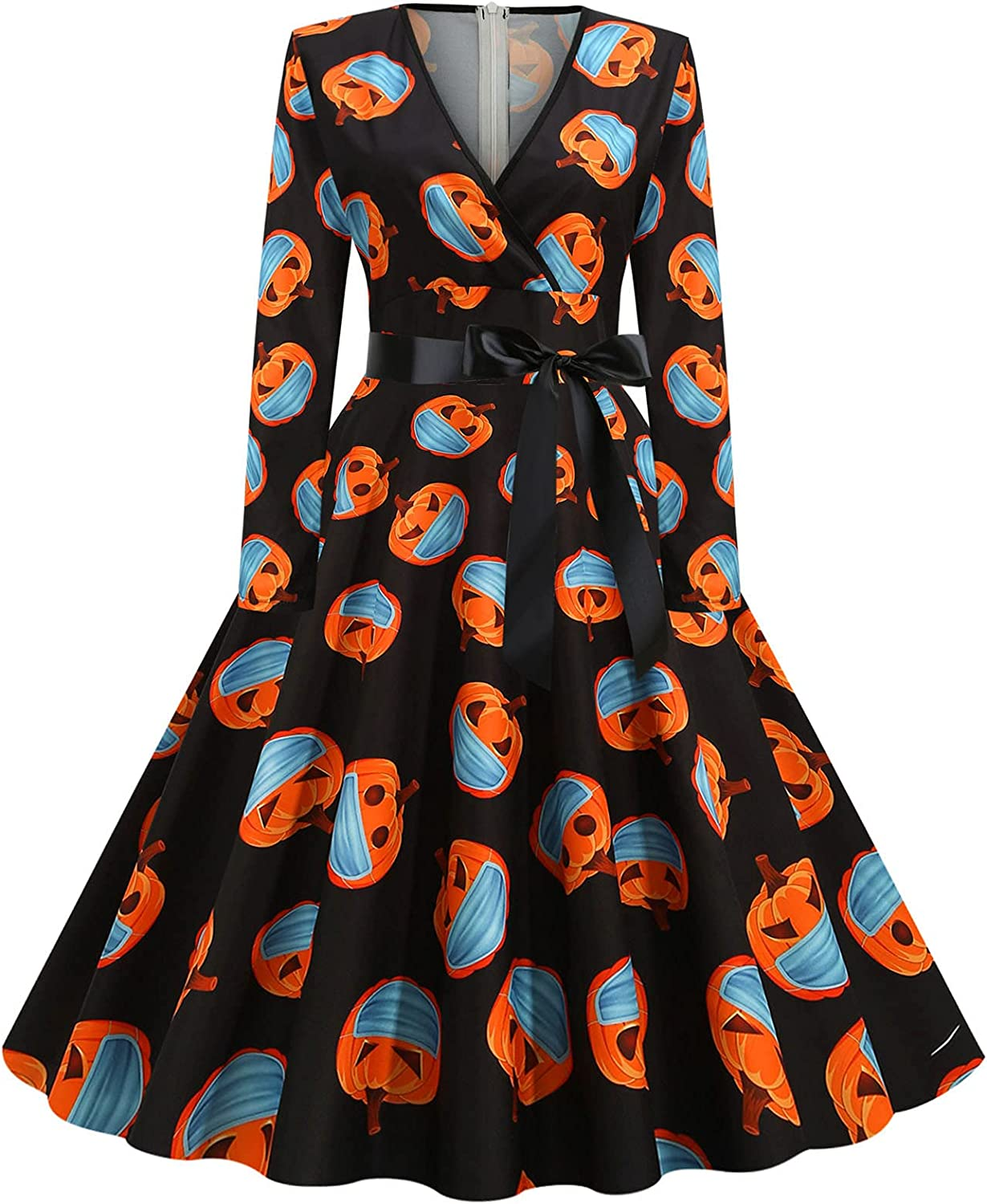 Summer Dress for Women Vintage Long Sleeve Halloween 1950s Housewife Evening Party Prom Cocktail Beach Casual Dress