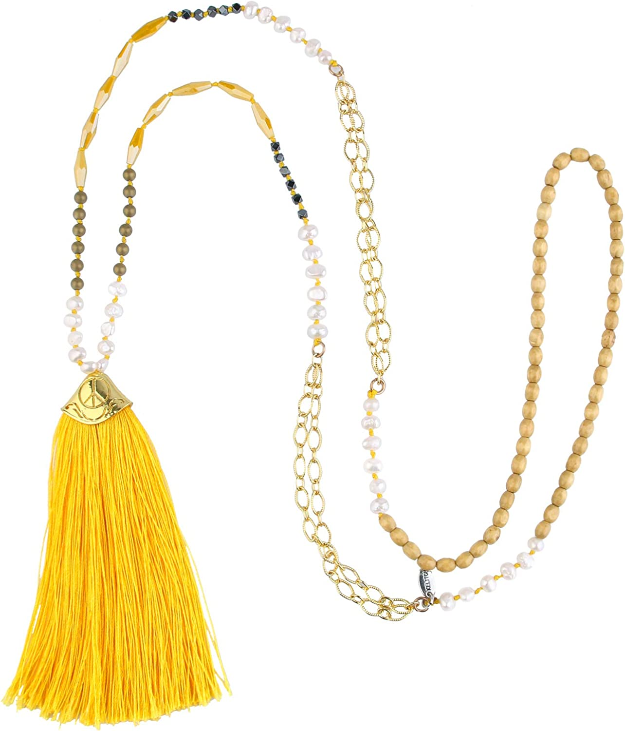 KELITCH Turquoise Crystal Beads Strand Necklace Color Tassel Necklace for Women