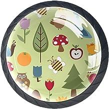 Ladeknoppen Ronde Kast Handgrepen Trek voor Thuiskantoor Keuken Dressoir Decoreren, Natuur met Gebladerte en Wildlife
