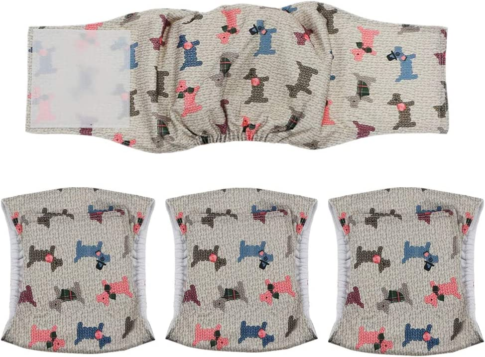 Qiny Washable Excellent Male Dog Diapers of 4 We OFFer at cheap prices Comfortable Reusable Pack