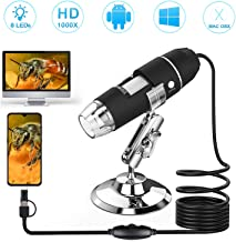 USB Digital Microscope 50X to 1000X 8 LED Magnification Microscope Camera with Metal Stand, 3 in 1 Mini Handheld Digital Microscope Compatible with Android Mac OS X 10.5 Windows 7 8 10 Vista/XP
