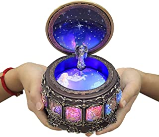 DELIWAY [Upgraded Version] Mechanism Rotate Music Box with 12 Constellations and Sankyo 18-Note Wind Up Signs of The Zodiac Gift for Birthday Christmas (Sun God)