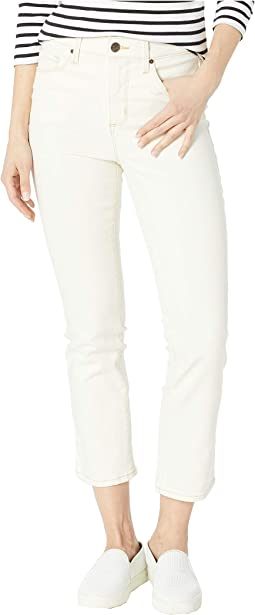 High-Rise Slim Crop Jeans in Ecru