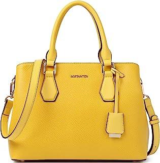 BOSTANTEN Leder Handtasche für Damen Schultertasche Elegante Umhängetasche Henkeltasche Frauen Tote Bag Gelb