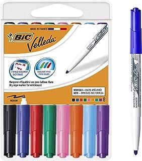 BIC Velleda 1741 marcadores de pizarra punta media para pizarra blanca – Caja de 8 unidades, colores surtidos, material of...