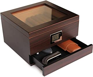 Glass Top Handcrafted Cedar Humidor with Front Digital Hygrometer, Humidifier Gel, and Accessory Drawer - Holds (25-50 Cig...