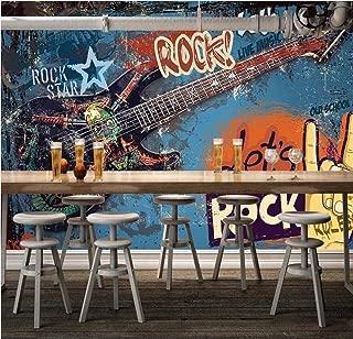 HYDQT 3D papel pintado mural Graffiti europeo y americano guitarra rock música Autoadhesivo PVC arte foto comida restaurante tienda de ropa ciego café pizzería tema papel (W)400x(H)280 cm