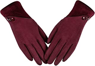 Womens Winter Warm Gloves, Contrast Color Design Touchscreen Texting Fleece Lined Windproof Driving Gloves Hand Warmer