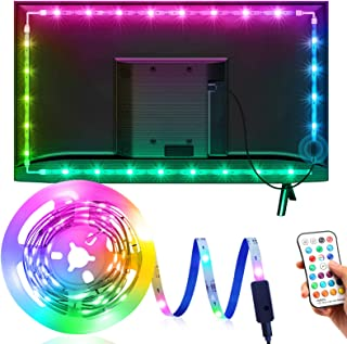 Tira LED TV 3M, OMERIL Luces LED TV RGB con 21 Modos y 16 Colores, Tiras LED USB con Control Remoto, Retroiluminación LED ...