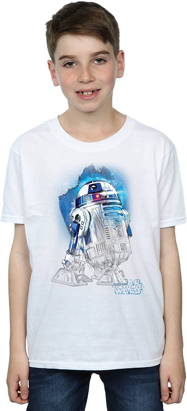 STAR WARS Boys The Last Jedi R2-D2 Brushed T-Shirt 7-8 Years White