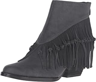 Womens Byanca Fringe Stacked Heel Ankle Boots