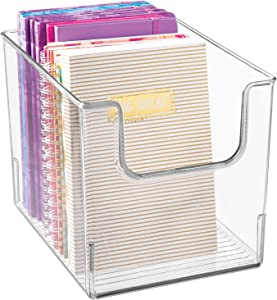 mDesign Plastic Open Front Home Office Storage Bin Container, Desk Organizer Tote - for Storing Gel Pens, Erasers, Tape, Pens, Pencils, Highlighters, Markers - 8