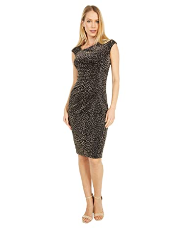 Vince Camuto Metallic Knit Bodycon Dress (Black/Gold) Women