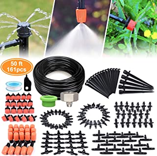 DIY Garden Drip Irrigation Kit, Plant Watering System with 50ft 1/4-inch Blank Distribution Tubing Hose Atomizing Nozzles Drippers