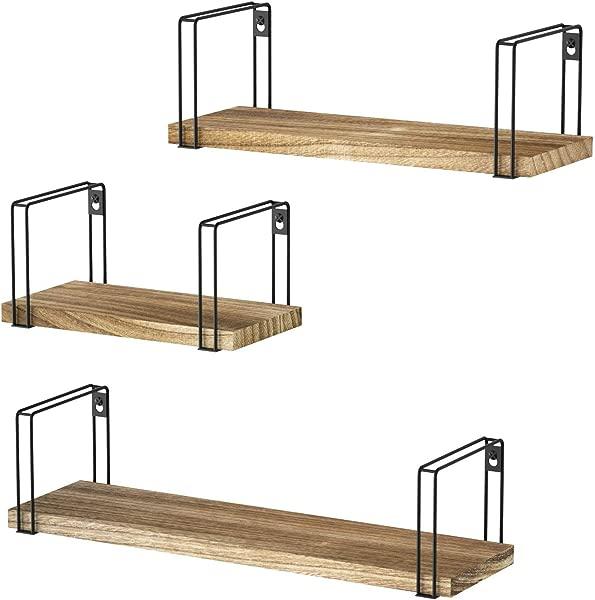 SRIWATANA Rustic Floating Shelves Wood Wall Shelves Set Of 3 Wall Mounted Storage Shelves For Bedroom Living Room Kitchen Bathroom Renewed