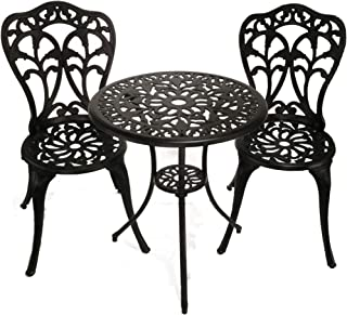 InnFinest 3-Piece Patio Bistro Dining Set - Cast Aluminum Table and Chairs - Outdoor Furniture Tulip Design - with Umbrell...
