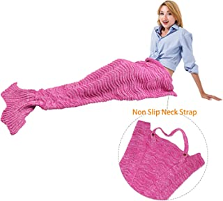 Catalonia Mermaid Tail Blanket with Anti-Slip Neck Strap, Soft Silky Hand Knitted Mermaid Sleeping Blanket for Girls Women Adults Teens All Seasons Sleeping Bag Pink 66.5