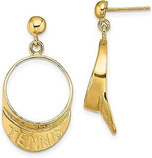 14k Yellow Gold Tennis Word On Visor Shaped Ball Dangle Post Earrings