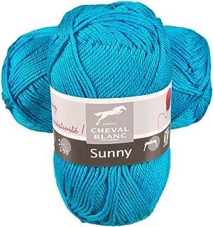 Laines Cheval Blanc - SUNNY fil à tricoter 100% coton 50g - Idéal pour le tricot été et tous vos loisirs créatifs