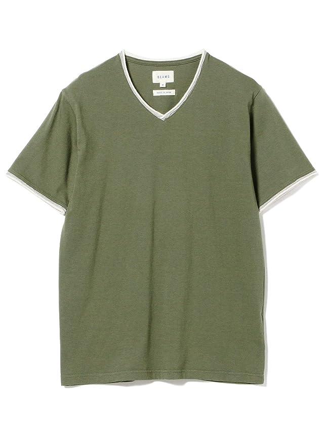 魅力的であることへのアピール自治染色(ビームス)BEAMS/半袖カットソー/ダブル カラー カットオフ Vネック Tシャツ メンズ