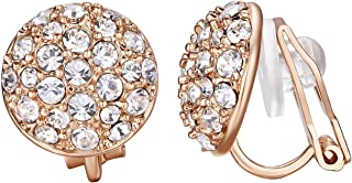 Yoursfs Earrings Clips on for Women Circular Rose Gold with Round Austrian Crystals (18k Rose GP)