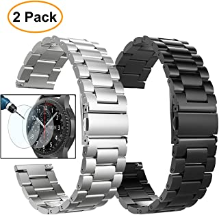 Valkit Compatible Gear S3 Frontier/Classic Watch Bands,22mm Stainless Steel Solid Wrist Band Metal Strap Business Bracelet +Screen Protector Replacement for Gear S3 Frontier/Classic/Galaxy Watch 46mm