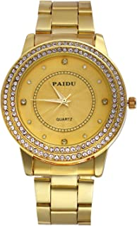 Lancardo Men's Luxury Jewelry Gold Tone Bling Crystal Accents Stainless Steel Wrist Watch