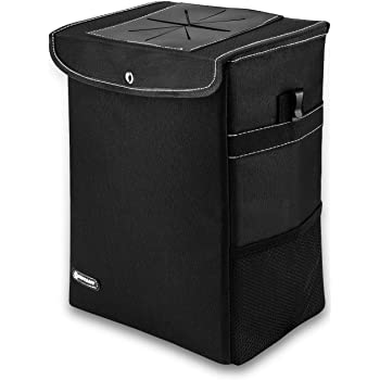 Collapsible Pop-up Trash Bin with Cover LILER U.S LILER CA LILER Universal Traveling Portable Car Trash Can Black