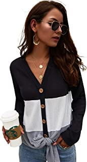 Womens Long Sleeve V Neck Button Waffle Knit Tunic Blouse Tops Shirts