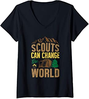 Womens Scouts Can Change The World Den Cubs Troop Leader Boy Gift V-Neck T-Shirt