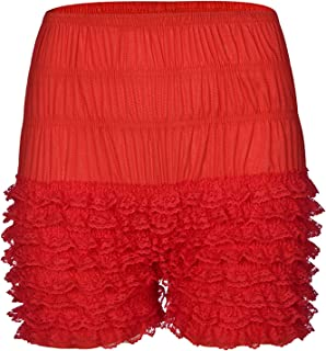 KKmeter Women's Tiered Ruffled Lace Sissy Pettipants Booty Shorts Frilly Dance Bloomers