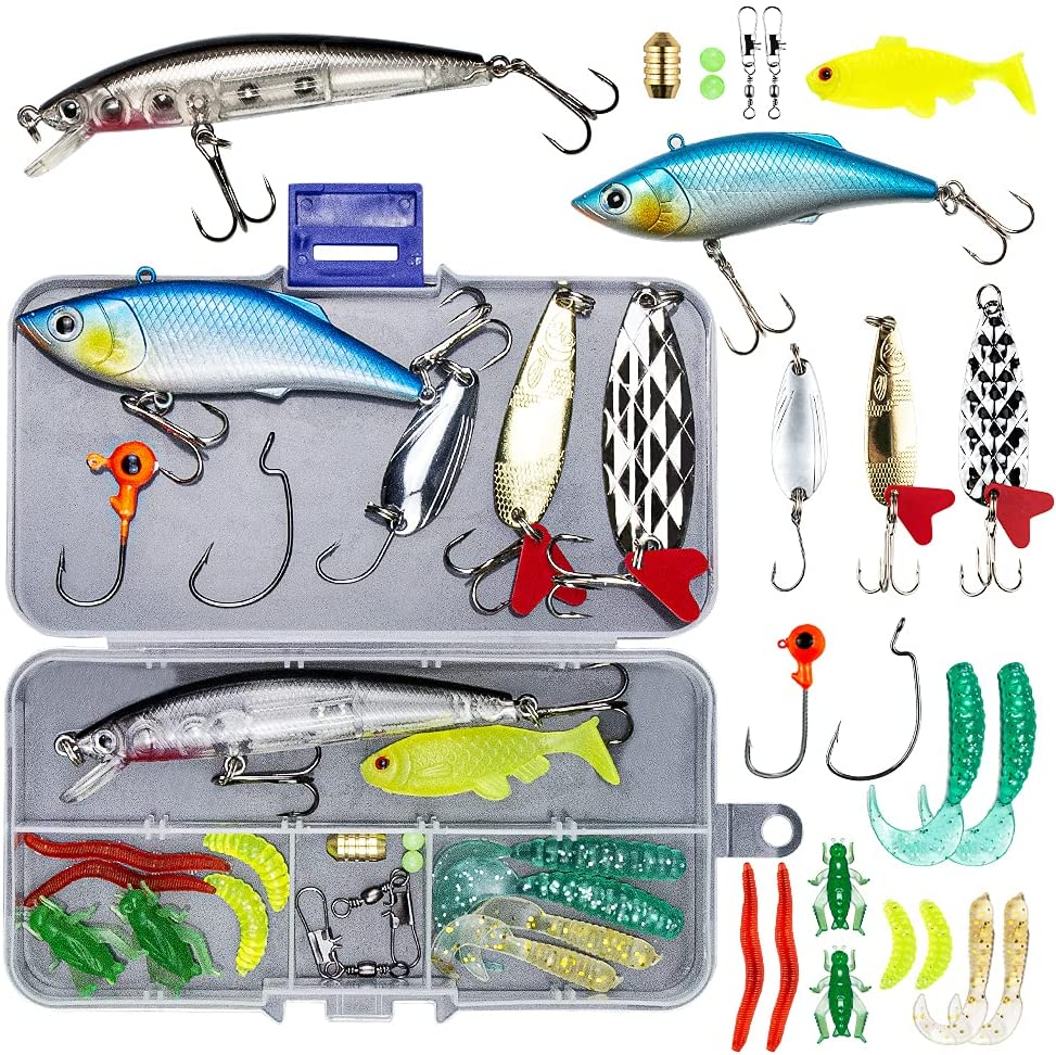 GOANDO 78Pcs Fishing Lures Kit for Freshwater Bait Tackle Kit for Bass Trout Salmon Fishing Accessories Tackle Box Including Spoon Lures Soft Plastic Worms Crankbait Jigs Fishing Hooks