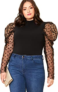 Yours Clothing Women/'s Plus Size Black Leopard Mesh Puff Sleeve Top