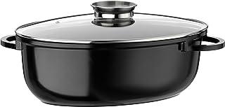 GSW 410588Gourmet Ceramica Inducción Fuente Ovalada XXL, con Tapa de Cristal Modelo Aroma 10L, Aluminio Fundido, Color Negro Moteado, 42cm 4Unidades