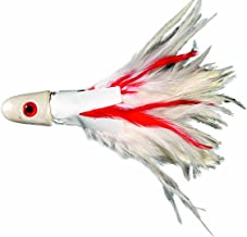 No Alibi Unrigged Troll Feather, 4-Ounce, White/Red Finish